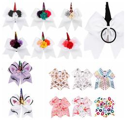 Wholesale ribbon hair bow holder - kids Princess Unicorn Cheer Bow With Ponyrtail Holder Ribbon Hair Bow Hair rope unicorn Hair Accessories Hairband KKA5618