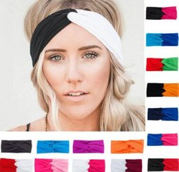 53923bbea30 New 19 Colors Solid Twist Sport Fashion Yoga Stretch Headbands Women Turban  Bandana Head wrap Hair Accessories stretch bandana headband for sale