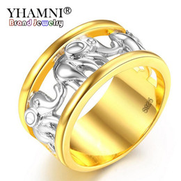 Wholesale Elephant Ring Gold White - YHAMNI New Hot Vintage Holy Elephant Ring 925 Silver&Gold Color Animal Jewelry Rings for Women Party Gifts Memorial Ring KYRA074