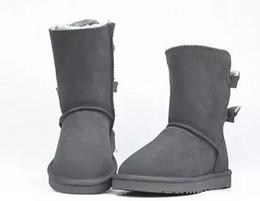 лучшие охотничьи сапоги Скидка EU25-43 NEW WGG Австралия классические высокие зимние ботинки натуральная кожа Bailey Bowknot женские Дети дети bailey лук снегоступы ботинки ботинки