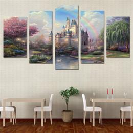 5 Panels, Thomas Kinkade Cinderella Schloss, moderne Leinwand Ölgemälde Print Wand Kunst Dekor für Wohnzimmer Dekoration gerahmt / ungerahmt von Fabrikanten