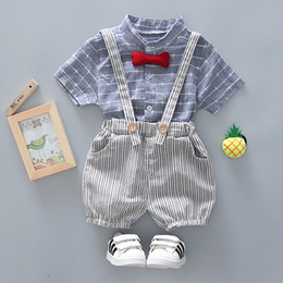 Wholesale suspenders sets baby - Vintage London Baby Boys Summer Clothing Sets Suspender Trousers With Short Sleeve Shirt Set For Handsome Infant Baby Kids 80 90 100 110CM