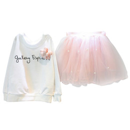 Wholesale Mesh Skirt Set - Toddler Baby Girl Clothes Set Long Sleeve T-Shirt+Mesh Skirt Suit Children Clothing 2 PCS