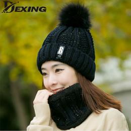 Wholesale Leather Masking - Neck warm knitted winter hat for women girl wool beanies Skullies letter B velvet hat mask Bonnet Femme Balaclava scarf set