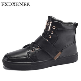 Wholesale decorations for boots - FXDXENEK Brand New Winter Men's Fashion Boots Shoes High Quality Casual Shoes For Man Metal Decoration Design Ankle Boots 39-45