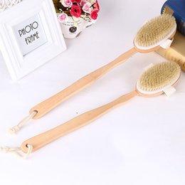 Wholesale bath dry cleaning - Bath Body Brush Boar Bristles Exfoliating Body Massager with Long Wooden Handle for Dry Brushing and Shower