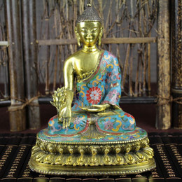 Wholesale buddhist supplies - Promotions Cloisonne Buddha Copper fetal kneeling Guanyin lotus Buddha Buddha Decoration Buddhist home office supplies
