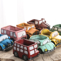 Wholesale Fiber Ceramics - Plants Flowerpot Zakka Retro Cartoon Vintage Car Truck Ceramic Vase Pot Home Office Decoration Mini Garden Planters 5cr V