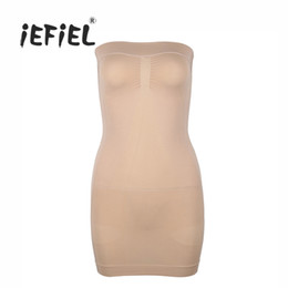black shapewear dress Promo Codes - iEFiEL Beautiful Women Strapless Control Slip Full Body Shaper Shapewear Slims Mini Dress for Nightclub Sexy Underdress