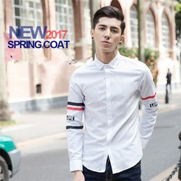 Wholesale Korean Clothing Mens Dress Shirts - Korean Casual Mens Dress Shirt 2017 Clothing Fashion Summer Striped Shirts 2 Colors Oversize