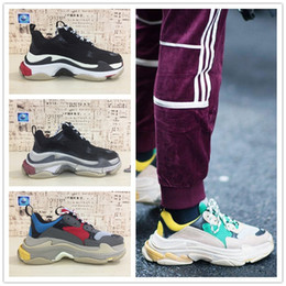 Wholesale Red Closed Toe Heels - HOT Paris Triple-S Luxury Designer Shoes Low Top Thick Heel Sneakers Triple S Men's and Women's Casual Shoes Outdoor Sports Trainers Shoes