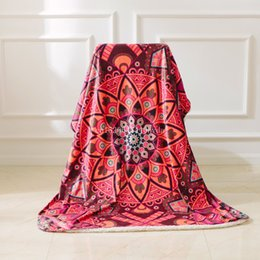 Wholesale Fabric Couches - Boho Sherpa Reversible Throw Blanket Mandala Hippie Soft Plush Bright Decorative Paisley Patterned Accent for Couch Blanket Bed
