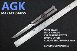 Wholesale Titanium Knife Blades - [AGK ] MAXACE GAUSS BUTTERFLY KNIFE ORIGINAL KNIFE COVENANT 3RD VERSION M390 BLADE TI+CF HANDLE  Ceramic BALL BEARING PIVOT