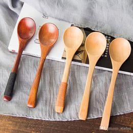 cucchiai di sale di legno Sconti Cucchiai di legno di alta qualità da 13 * 3 cm Caffè per tè Latte Miele Articoli per la tavola Accessori da cucina Cucinare sale da zucchero Cucchiaini WX9-459