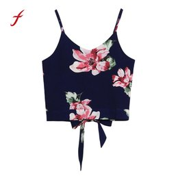 07ace25dca1b1 Women s Lady Self Tie Back V Neck Flower Floral Crop Cami Top Camisole  Blouse Camis Vest Tops regata Femininas