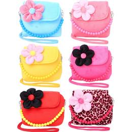 Wholesale princess children handbag - baby girl Shoulder Bag Children Girls Princess Flower bags Kids Messenger Handbag with a beads belt Lovely Purses
