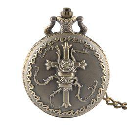 Kreuz quarzuhr online-Steampunk Bronze römischen Zahlen 3d Cross Design Männer Quarz Taschenuhr Retro Frauen für Geschenke mit Halskette Colar Masculino