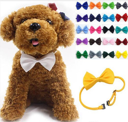 Gravatas do gato on-line-Atacado 100 Pçs / lote Pet cocar Dog neck tie Dog gravata borboleta Cat tie Pet grooming Suprimentos Multicolor