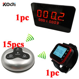 Wholesale Restaurant Button - Wireless Restaurant Pager Calling system with 1 Watch Pagering Receiver 15PCS Waterproof Call Buttons Caregiver and 1 Display Receiver