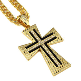 Wholesale Male Gold Pendants - 2018 Male Female Gold Cross Pendant Necklace Hip-hop Cuban Chain Gold Silver Color For Men Women Jewelry