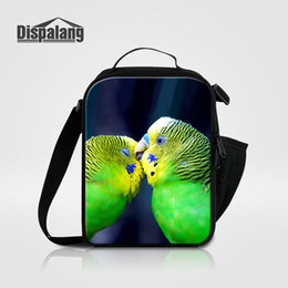 Wholesale Cute Small Boys - Cute Bird Pet Printing Thermal Lunch Bags For Girls Boys Colorful Parrot Animal Portable Insulated Cooler Bag Lunchbox Small Lancheira Bolsa