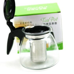 Wholesale Wholesale Glass Tea Set - 900ml Glass Kungfu Tea Set Water Kettle Teapot With Infuser Stainless Steel Filtering Mesh Infuser Tea Coffee Drinkware Tool CCA8463 20pcs