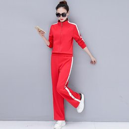 cfa7945525b1 AmberHeard 2018 Spring Autumn Plus Size Women Sporting Suit Zip Top+Broad  Leg Button Pant 2 Piece Set Tracksuit Outfit For Women