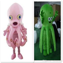 Vestidos de cor do oceano on-line-Personalizado Animal Octopus Octopus Animal traje da mascote Trajes de caráter dos desenhos animados Animal Realizar o carnaval do Dia Das Bruxas vestido de festa Com duas cores