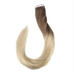 Wholesale Seamless Tape Hair - Ombre Tape in Hair Extensions Color 6B Fading to 613 Tape Human Hair Remy Seamless Hair Extensions 40Pcs 100 Gram
