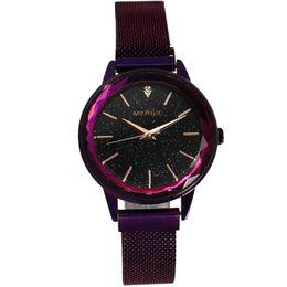 Черные фиолетовые часы для девочки онлайн-Fashion Quartz  Purple Starry Sky Watches Woman Star Mesh Magnet Band Crystal Girl Ladies Blue Black Rose Gold Waterproof