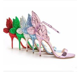 Wholesale Sliver Heels - sophia webster gree red gold sliver purple butterfly female gladiator sandals high heeled wedding shoes pumps winged party lady sandas shoes