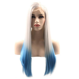 Wholesale Two Toned Blue Lace Wig - 18-28inches Ombre Long Silky Straight Lace Front Wigs Synthetic Two Tone White Blue Color Front Lace Hair Wig For Women