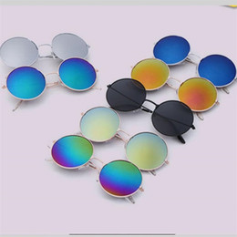 Wholesale Sunglasses Reflective Mirror - Classic Round Box Trend Designer Sunglasses Women Metal Full Frame Reflective Universal Frog Mirror Men Luxury Brand Sun Glass AC Lens 2 5dk
