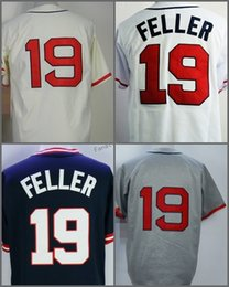 Wholesale Polyester Bobs - 19 Bob Feller throwback Jersey 1948 Year Hall of Fame Jerseys White Cream Stitched