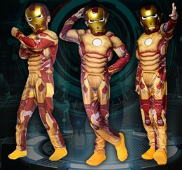 Wholesale Superman Mask Kids - Vocole Halloween The Avengers Iron Man Cosplay Children Boys Jumpsuit Superman Superhero Costumes Kids Party Costume With Mask
