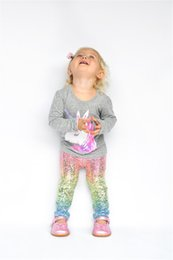 Wholesale Boutique Pants - INS Boutique Unicorn Baby Girls Mermaid Rainbow Fish Scale Gradient Leggings tights Long Pants Casual Trousers Fashion Glossy Scale