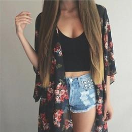 negro del kimono de la gasa Rebajas Mujeres Casual Vintage Kimono Cardigan Ladies mujer 2018 Verano largo Crochet Gasa Preto Loose Flora Impreso Blusa Top Black Z3