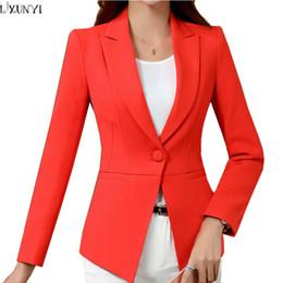 Wholesale Long Suit Blazer For Women - LXUNYI Autumn Korean Ladies Blazer jackets White 4XL Plus Size One Button Slim Office Blazers For Women Suit Coat Long Sleeve