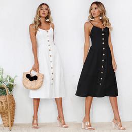 Canada Modèles printemps et en été 2018 explosion jupe courte robe sexy robe bouton noir et blanc de couleur unie sangle cheap white lycra skirt Offre