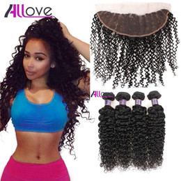 Wholesale Cheap Weave Closures - Wholesale Cheap 8A Brazilian Hair Kinky Curly With Lace Frontal Closure 4pcs Hair Bundles With 13x4 Ear to Ear Lace Frontal Closure Weaves