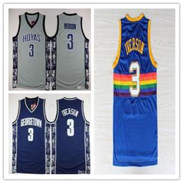Wholesale allen iverson georgetown jersey - Men's Georgetown Hoyas College 3 Allen Iverson Jersey University Tean Blue Gray Allen Iverson Basketball Jerseys