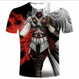 Персональные футболки онлайн-Assassins Creed 3D Funny Tshirts Новый Мода Мужчины / Женщины 3D Печать Характер Футболки Футболка Женская Сексуальная Футболка Тройники Одежда ya84