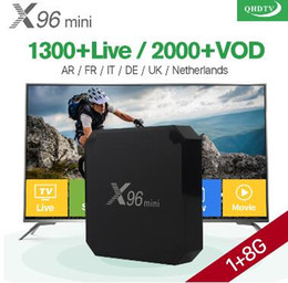 iptv smart tv box Скидка 1 год X96 мини Android 7.1 Smart IP TV Box 4K Quad Core 1 год Qhdtv код подписки Европа каналы X96mini французский арабский IPTV коробка