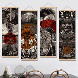 tatuaggi dipinti Sconti Negozi di dipinti in stile giapponese Case vinicole Bar tatuaggi Stampa su tela Pitture murali con gancio in legno per la decorazione domestica con cornice