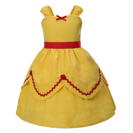Wholesale Yellow Princess Costume - Pettigirl Summer Girls Party Dress With Bow Yellow Kids Cosplay Princess Dresses Costume Clothing G-CMGD0003-C2