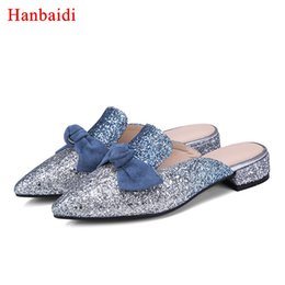 bling pointed toe flats Promo Codes - Hanbaidi Luxury Design Sequined Cloth Bling Bling Women Slippers Fashion Bowknot Pointed Toe Slip On Outfit Shoes Zapatos Mujer