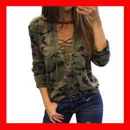 Wholesale Lace Tops Sleeves - Women Blouses 2018 womens Camouflage Halter Top Pullover Shirt Ladies Loose Bandege Lace Up Shirt Harajuku Tracksuits Female Sudaderas