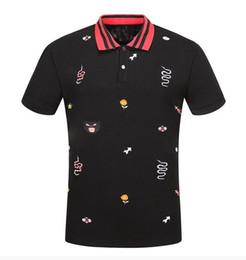 T-shirts rayés pour filles en Ligne-Nouveau mode hommes marque polo t-shirt broderie serpent collier classique t-shirt à manches courtes t-shirt G rayé amoureux filles femmes hommes Top Tee