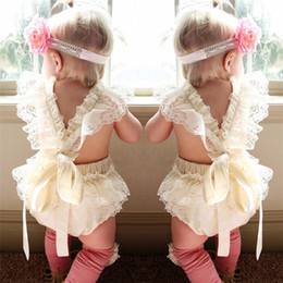 Wholesale Girls Print Jumpsuit - INS infant girls Summer sleeveless Lace romper 100% Cotton bunny romper baby Lace collar rabbit printed clothing Jumpsuit