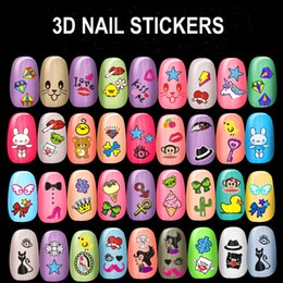 Wholesale nails cut designs - New Cut Cartons 3D Design Nail Decals Back Glue Nail Stickers For Tips Beauty DIY#XF460~XF495